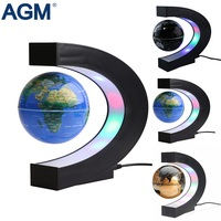 AGM Novelty Lights C Shape Magnetic Levitation Table Lamp Floating Tellurion Globe World Map Home Decoration Light For Kid Gifts