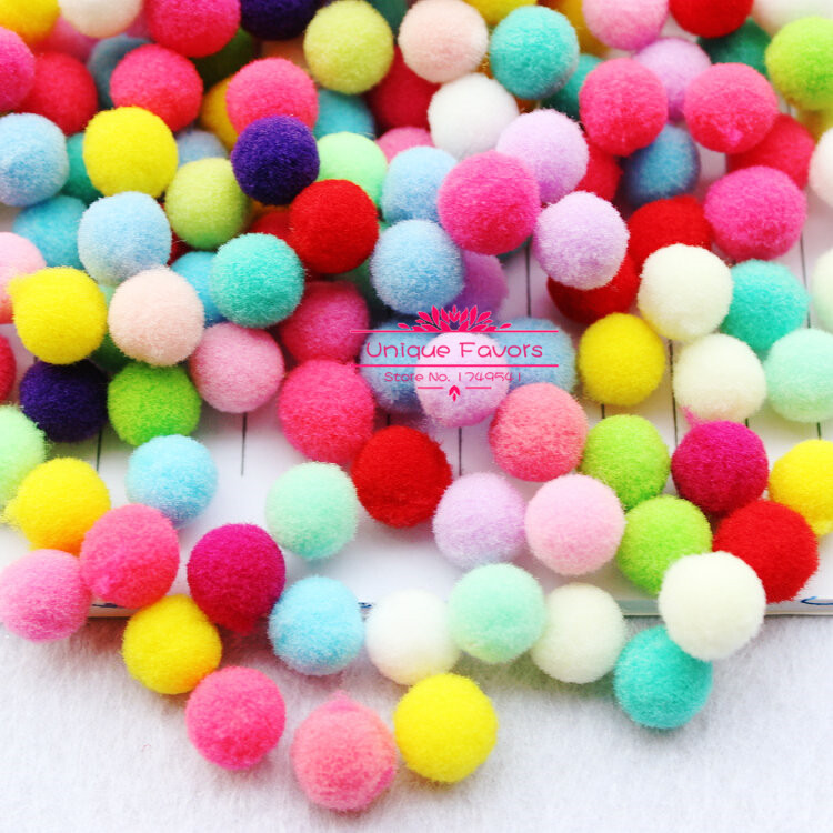 500pcs 15mm Colorful Pompom Craft Ball High Elastic Polyester Pom Pom Balls Fluffy Pompon Balls Nursery Room, Party, Craft Decor