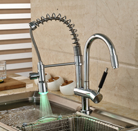 Classic Chrome Brass Hands Free Deck Mount Kitchen Faucet Single Handle LED Light Kitchen Hot Cold