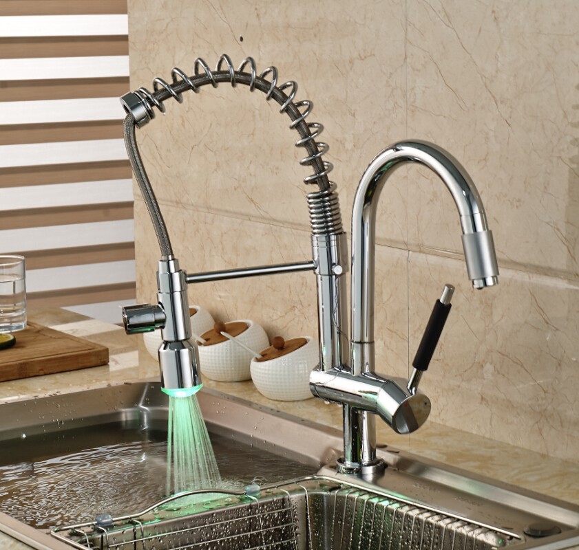 Classic Chrome Brass Hands Free Deck Mount Kitchen Faucet Single Handle LED Light  Kitchen Hot Cold Water Taps torayvino style kitchen faucet chrome polished deck mounted single handle hot cold water beautiful eminent kitchen faucet