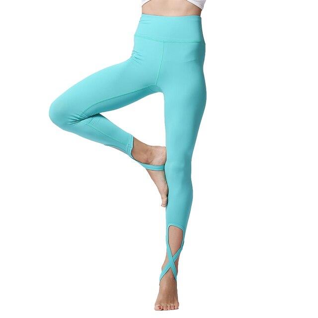 Ladies Yoga Pants High Waist Solid Cross Stirru ...