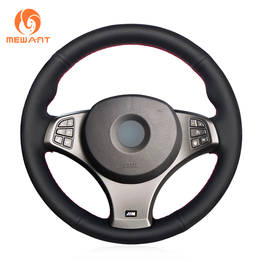цена MEWANT Black Genuine Leather Car Steering Wheel Cover for BMW E83 X3 2009 2010