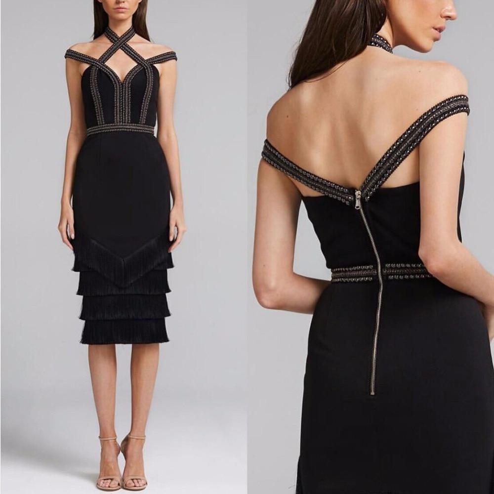 2018 Latest Design Female Black Cold Off Shoulder Cap Sleeve Diamente Embellished Tassel Fringe Bodycon Bandage Dress Outfit
