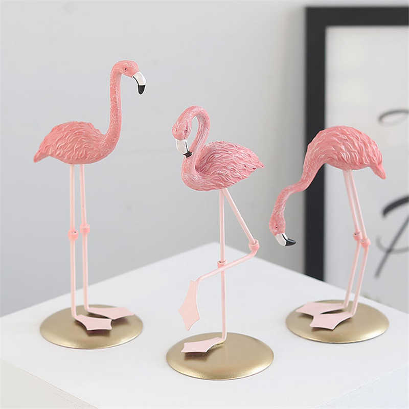 Desk Decor Cute Love Animals Pink Flamingos Home Decoration Accessories Kids Birthday Gifts Living Room TV Cabinet Ornaments
