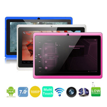 Allwinner A33 Quad Core 7 pulgadas Tablet Q88 WIFI Bluetooth MEDIADOS Cámaras duales del Androide 4.4 OS 512 MB 8 GB de Cuatro Núcleos Más Barata Run rápido