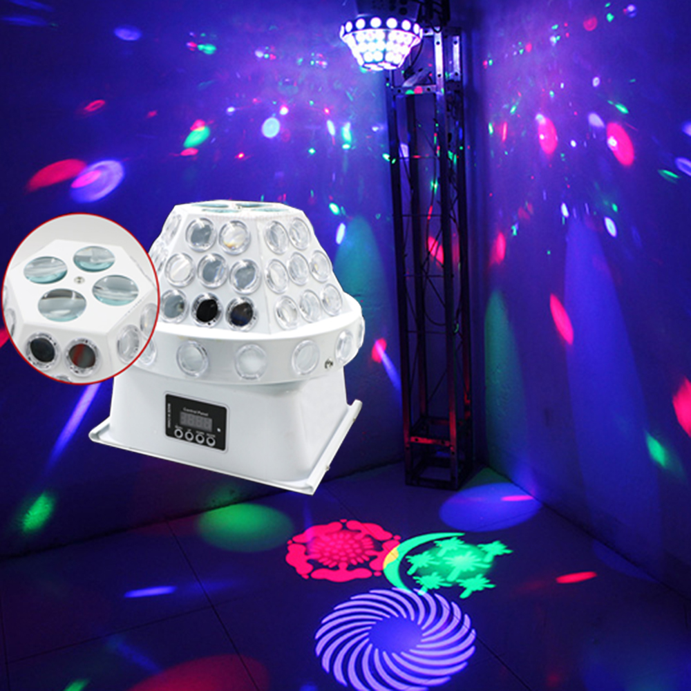 2017 LED 30W RGBW  4 gobo disco soundlights magic ball color music follows profession Stage effect lighting for DJ club tiptop tp e14 8 eye stage disco gobo led effect light white color aluminum shell rgbw 2r 2g 2b 2w rotating lens wheel 10 pack