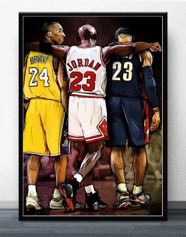 Stephen Curry LeBron James Basketball Stars Silk Fabric Poster Canvas Print