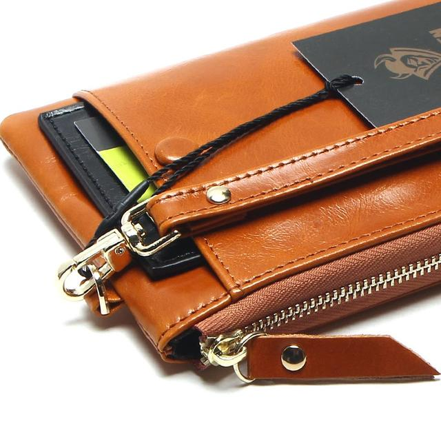 Women Phone Bag Candy Oil Leather Wallet