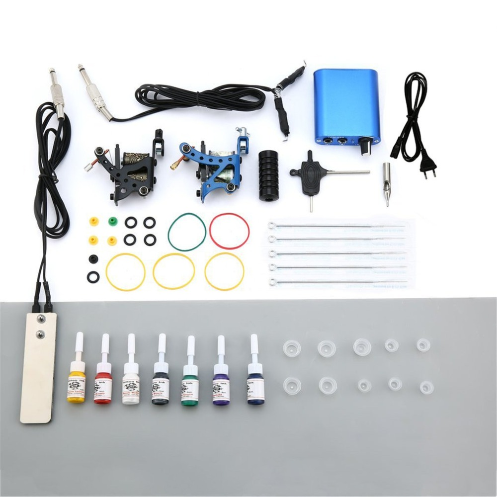 Complete Beginner Tattoo Kit 2 Pro Machine Guns 7 Colors Inks Power Supply Needle Grips Tips Tatto Kits Accessories