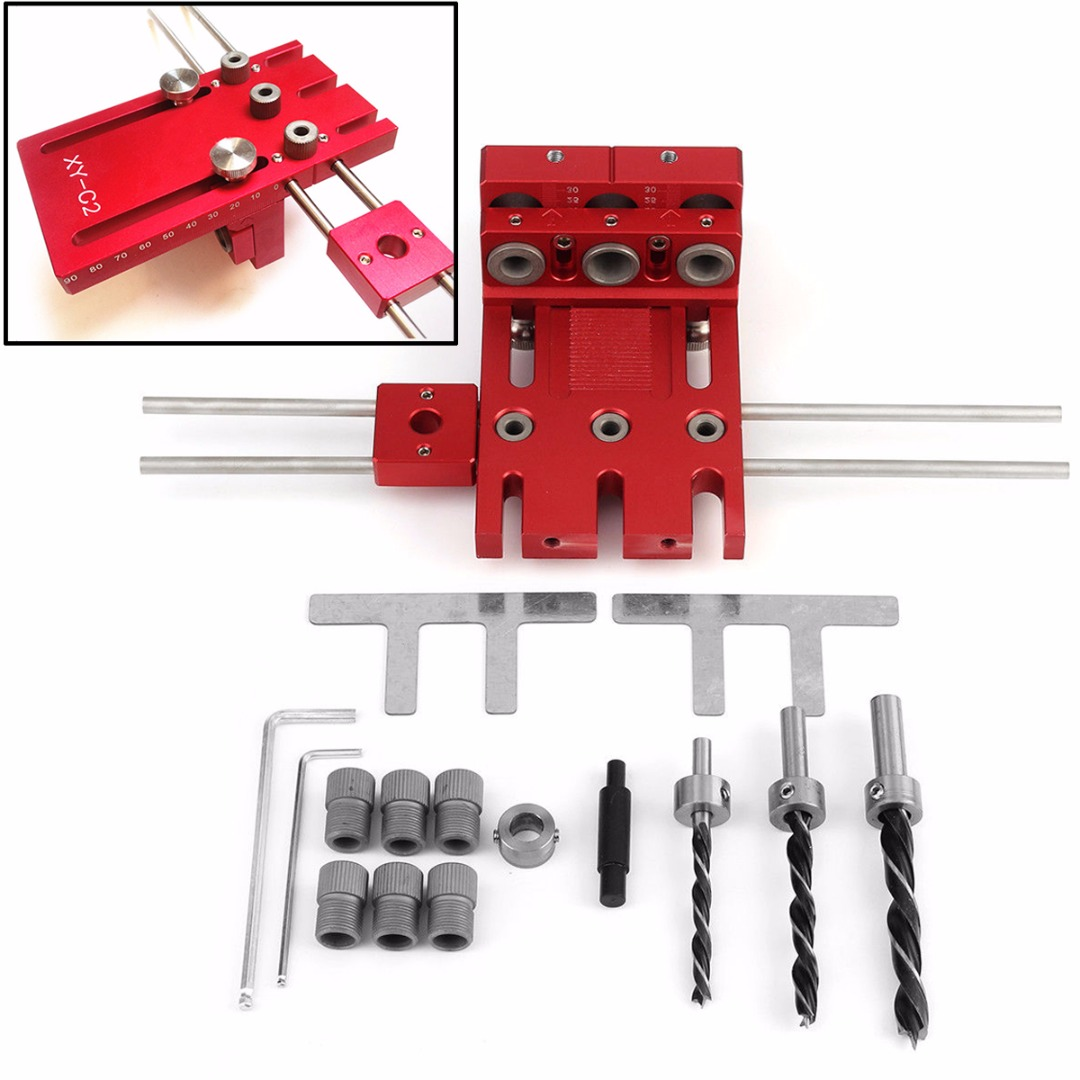 Aluminium Alloy Doweling Jig Tool Kit Woodworking Drill Guide Locator Joinery System Hole Puncher Set все цены