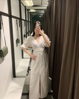 2019 Summer Women Embroidery Maxi Dress Sexy V Neck Flare Sleeve Long Dress Cotton White Hollow Out Casual Dress
