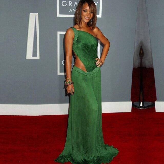 Sexy Eine Schulter Long Green Chiffon Formale Veranstaltungen Kleid ...