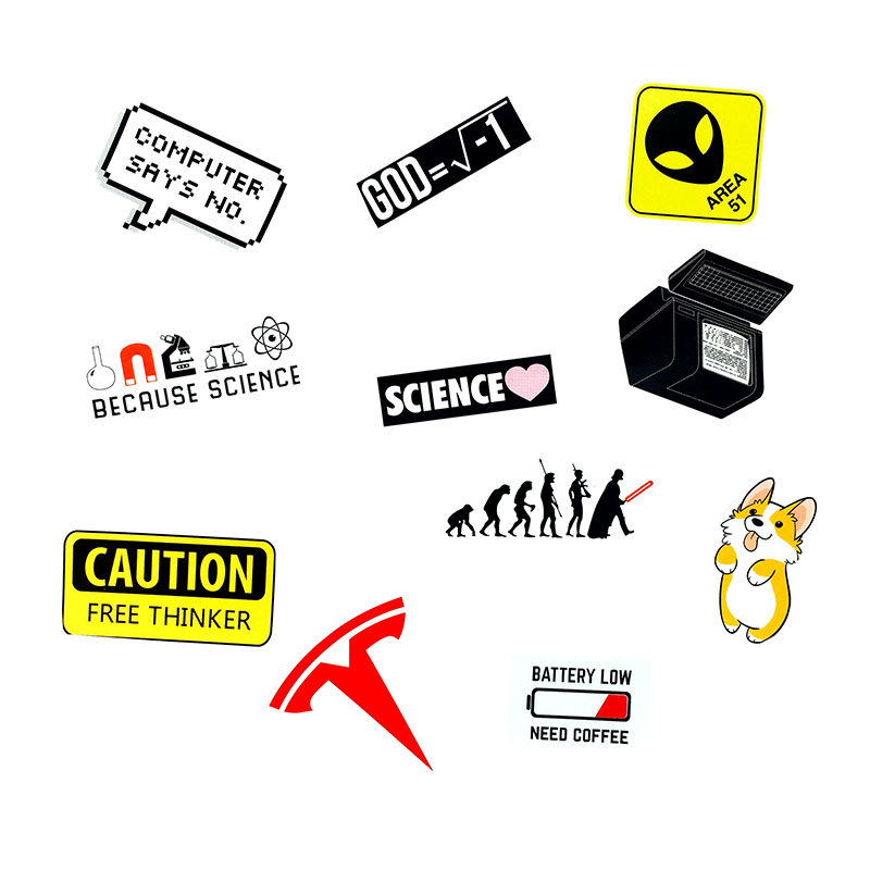 11 Pcs Cartoon Alert Logo Sign Stickers Mini Diary Sticker For Phone Guitar Laptop Stickers Signs Waterproof PVC Stickers