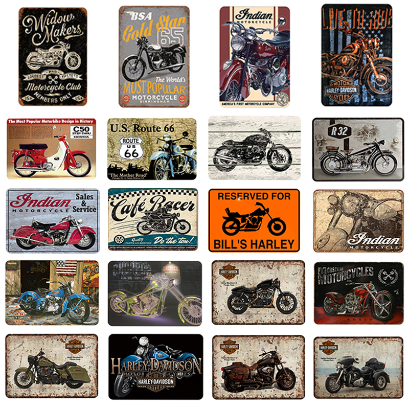 Motorcycles PlaquesGold Star Metal Plate Scout Route 66 Tin Sign Plaque Vintage Poster Garage Club Pub Bar Wall Decoration 01
