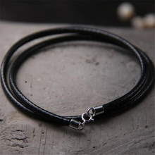 20pcs 40/45/50/55/60CM Black Wax Cord Necklace For DIY Craft Jewelry 925 Sterling Silver Lobster Clasp Neckl