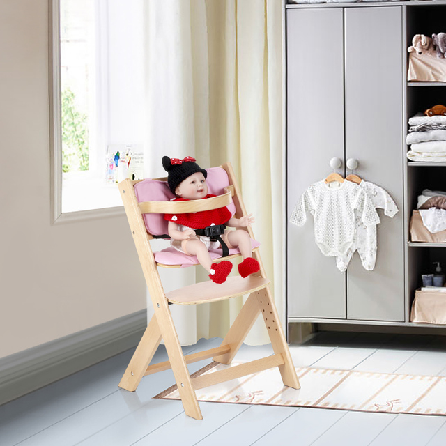 Infant Feeding Chair Ameriglide Lift Chairs Ikayaa Toddler Baby Wooden High With Cushion Height Adjustable Beech Wood Highchairs For Kids Dining