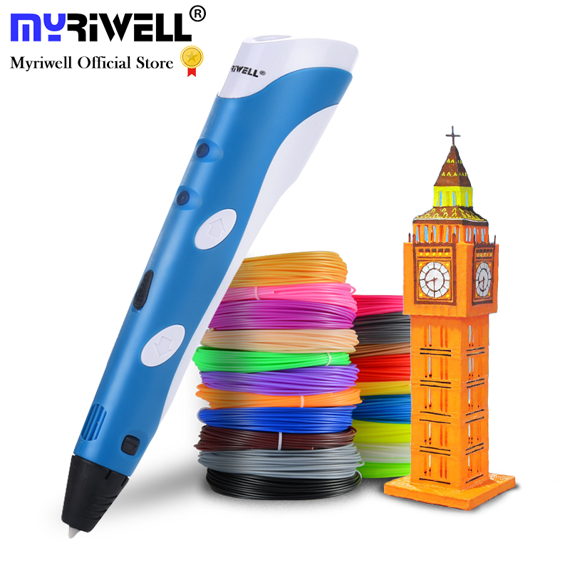 Myriwell 3D pen with 50m 1.75mm ABS filament Smart 3D Printing pen 3d handles for kids birthday christmas gift 3d drawing pen