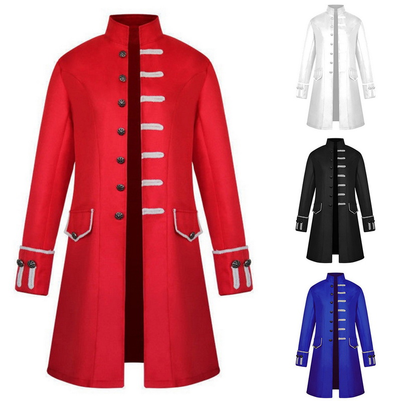 dc16caf58fb10 2019 Puimentiua Vintage Men Frock Stand Collar Gothic Trench Coat ...