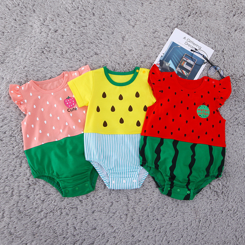 Summer Funny Baby Rompers Short Sleeves Infant Clothing Fashion Cartoon Fruit New Style Watermelon Strawberry Cute Wear Pink Red
