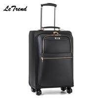 High grade PU Rolling Luggage Metal Trolley Bag Men Travel Hand Trolley Bag Large Capacity Travel Bags Suitcase Trip Luggage