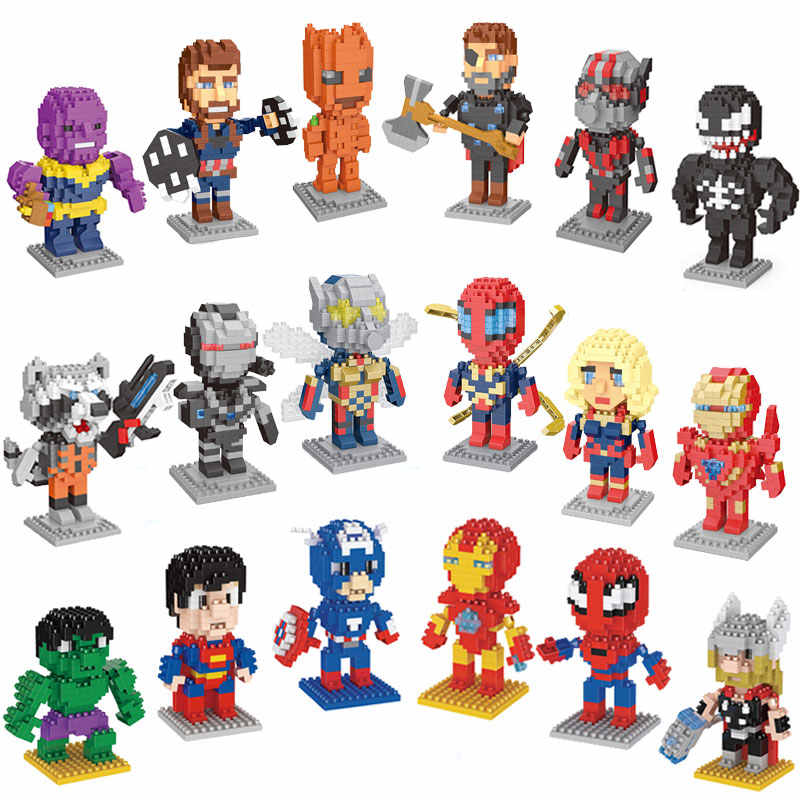 Novo Nano bloco Vingadores Marvel Super Hero Figuras de Ação Deadpool Spiderman Black Panther Venom Mini Toy Building Block Para Crianças