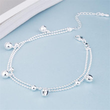 KOFSAC New Fashion 925 Sterling Silver Beads Chain Anklets Beach Party Cute Boll Ankle Bracelets For Women Foot Jewelry Gifts(China)