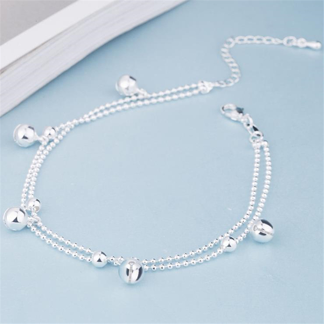 Onevan New Fashion 925 Sterling Silver Beads Chain Anklets Beach Party Cute Boll Ankle Bracelets For Women Foot Jewelry Gifts by Onevan