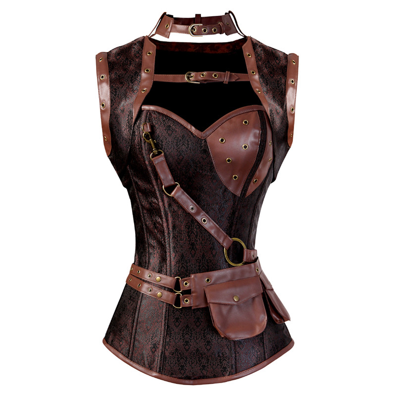 Femmes Steampunk Corset gilet Bustier Vintage Pu cuir Corset grande taille surbuste Corselet Vintage rétro Corset Pirate hauts