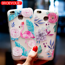 BROEYOUE Case For Xiaomi Redmi Note 5 Pro 4X 5A 5 Plus 5A Prime 3 Flower Soft Silicone Matte Cover For Xiaomi 4X 4A Mi A1 Mi6 5S(China)