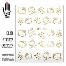 1 лист ногтей Y036 золотой hello kitty Nail Art переводная наклейка для украшения ногтей