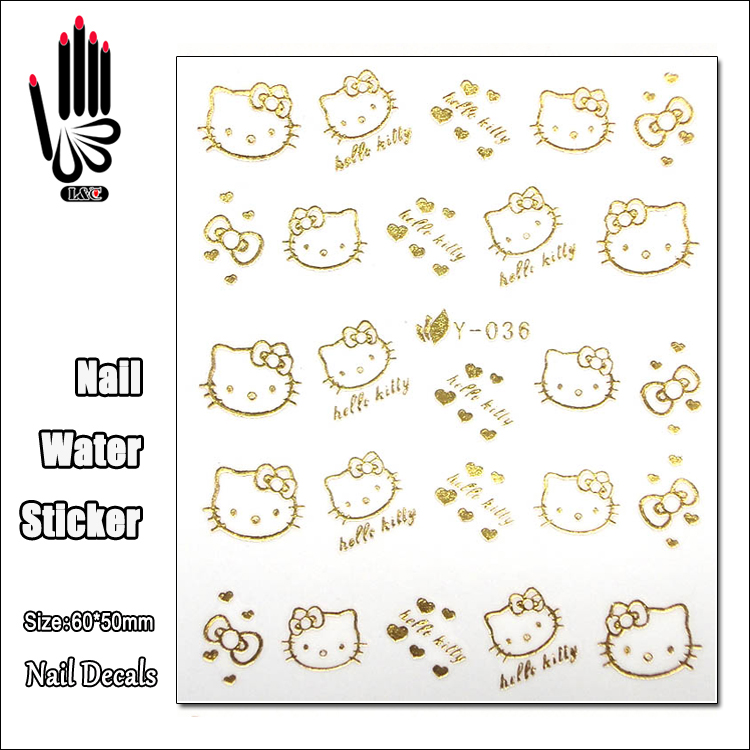 1 Sheet Nail Y036 Gold Hello Kitty Nail Art Water Transfer Sticker Decal Sticker For Nail Art Decoration nail art large piece yb529 540 12 designs in 1 cartoon pet hello kitty nail art water transfer sticker decal for nail