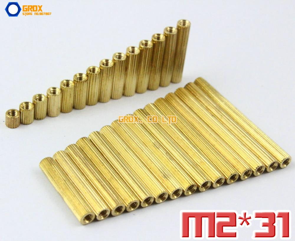 100 pièces en laiton M2 x 31mm femelle PCB carte mère entretoise