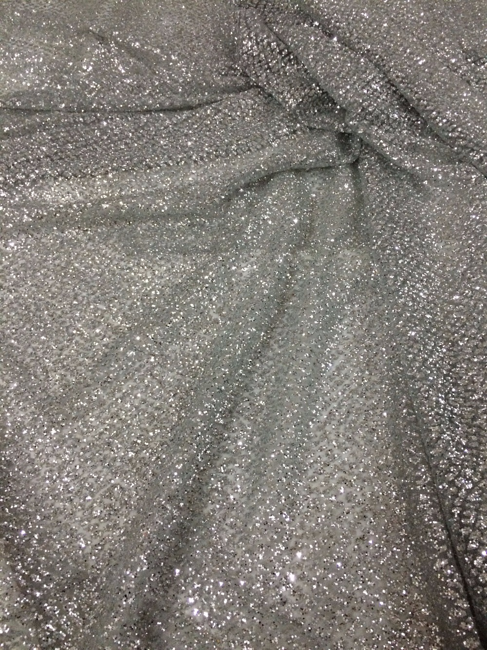 French Net Lace fabric SYJ 92716 for evening dress hot sale glued glitter French tulle Material