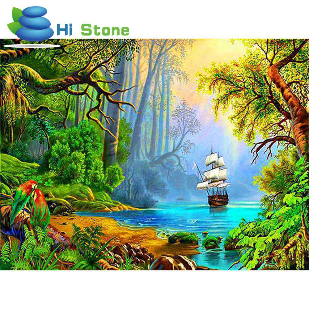 5D Diy Diamond Painting Cross Stitch Sailboat in the forest full square diamond embroidery Handicraft gifts