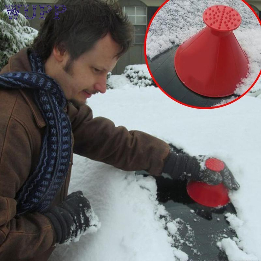 WUPP Scrape A Round Magic Cone-Shaped Windshield Ice Scraper Snow Shovel Tool Red   Nov24 Drop Ship
