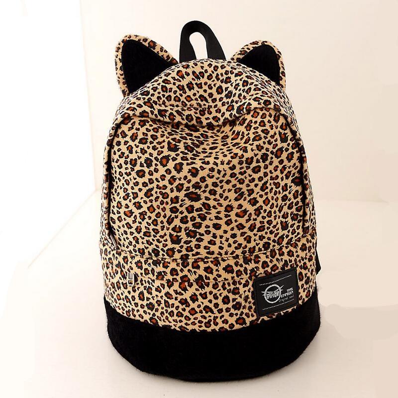 Canvas bag Printing Leopard Backpacks Lovers Vintage Cat Ear School Bags For Teenage Girls Femininas Rucksacks
