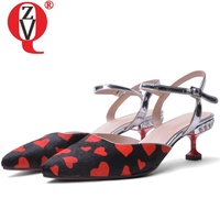 ZVQ Heart pattern love sandals fashion woman 4.5cm high heel leather shoes summer red horse hair drop shipping Pointed toe shoes