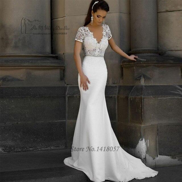 Russian Style Berta Wedding Dress Mermaid Short Sleeve Bride Dresses ...