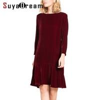 Women Winter Dress Luxury 100 Silk Velvet Knee Length Dresses O Neck Long Sleeved 2017 New