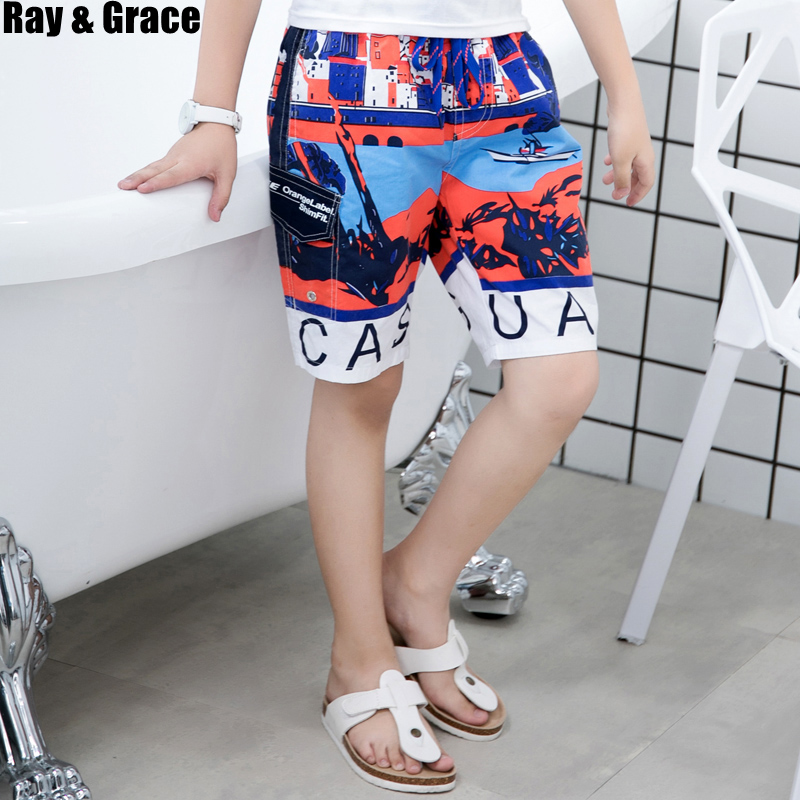 RAY GRACE Summer Children Beach   Shorts   Boys   Board     Shorts   Kids Beach Surfing Printed Breathable Swimwear Cotton Beach Pants