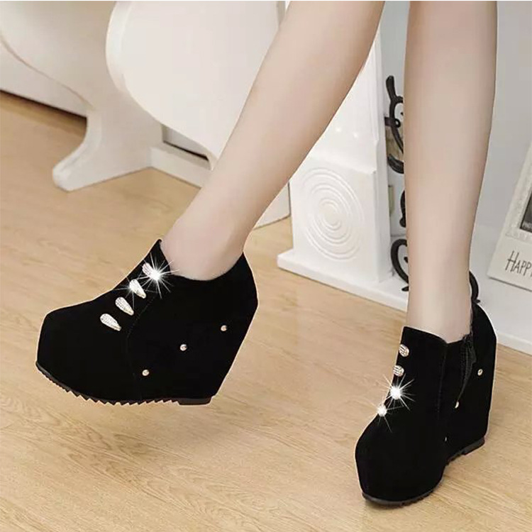 The 2016 fall of designer shoes Han edition pure color wedges female fashion high heels Pure color woman single shoes