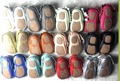 wholesale 50pairs/lot genuine leather hard rubber sole fringe bow baby moccasins shoes winter toddler infant baby rubber shoes