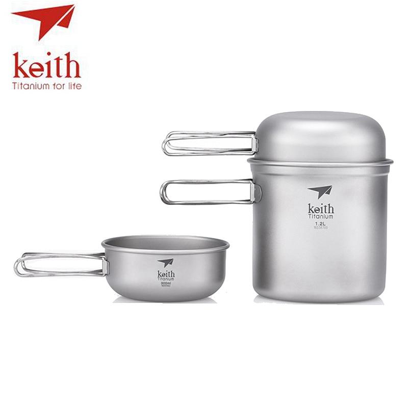 Keith 3Pcs Titanium Bowls Pot Set With Folding Handle Cook Sets Titanium Pot Set Camping Hiking