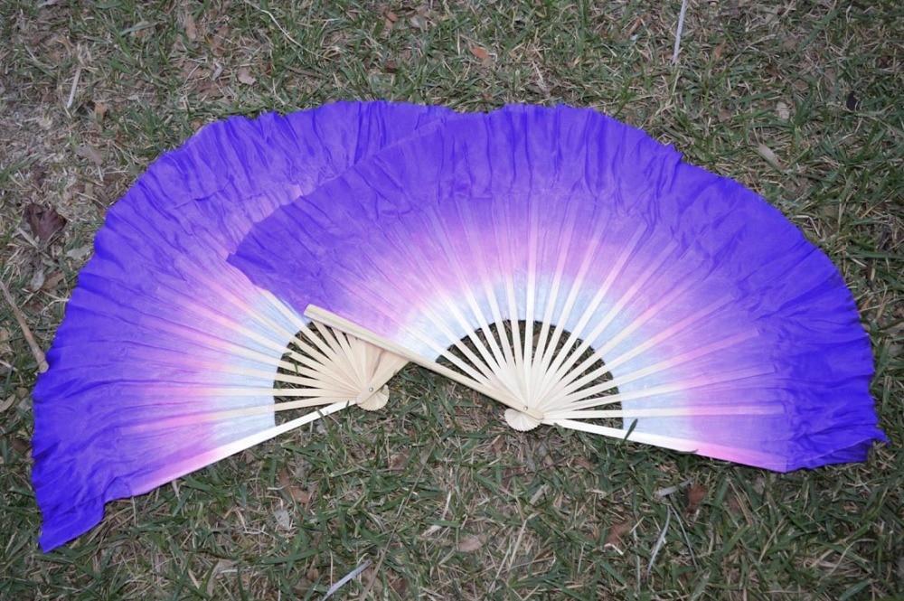 2016 Women Of High Quality Silk Chinese Belly Dance Dance Fan Cheap Hot White To Purple Gradient  Double Short Silk Fan