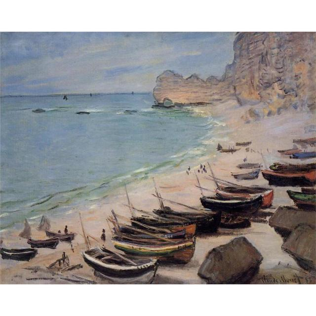 High Quality Claude Monet Paintings For Boats On The Beach At Etretat Canvas Art Hand