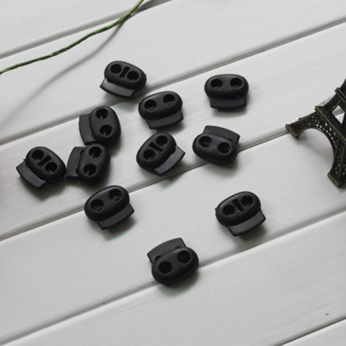 Пробки paracord зажим черный пластиковый шнур тумблер нейлоновый замок 2 отверстия 5 мм 500 шт./лот аксессуары для одежды