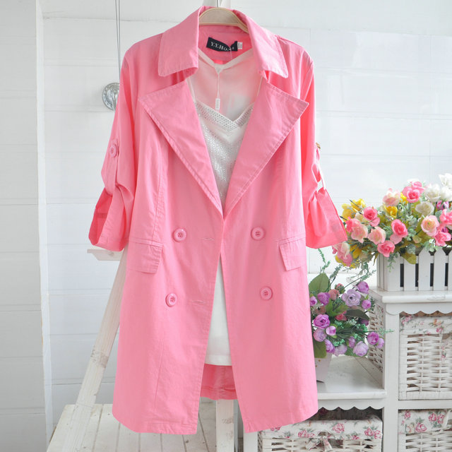 4xl 5xl Plus size thin trench female 2016 spring and summer medium-long three quarter sleeve double breasted outerwear AW457