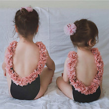 Mother and Daughter Swimming Outfits Flowers Mom Kids Swimsu