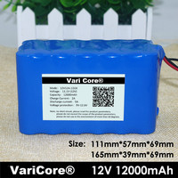 12v 18650 Lithium ion Battery Pack 12A Protection plate 12000mah Hunting lamp xenon Fishing Lamp USE+12v 3A charger