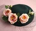 Французский Париж Стиль Невесты Свадьба Черной Вуалью Шляпу Цветок Чародей Темно-Зеленый Большой Шляпе Пляж Партия Головной Убор Для Фотосъемки